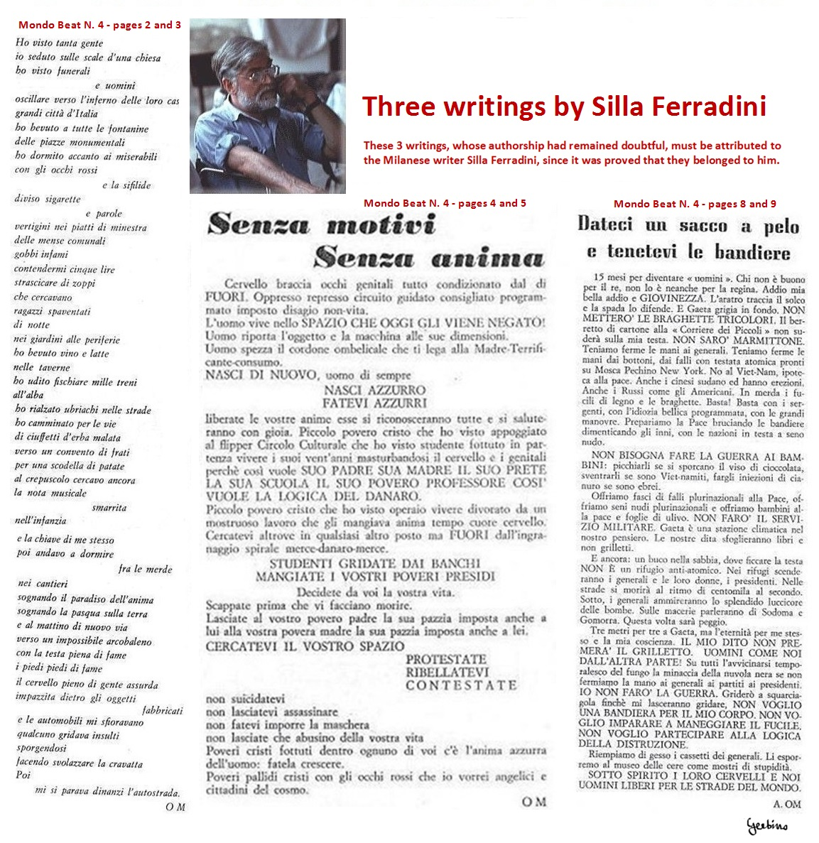 3 writings to be attributed to the Milanese writer Silla Ferradini