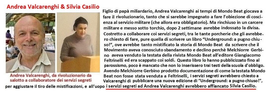 Andrea Valcarenghi e Silvia Casilio agli ordini dei servizi segreti nel mistificare e disperdere la memoria della storia di Mondo Beat