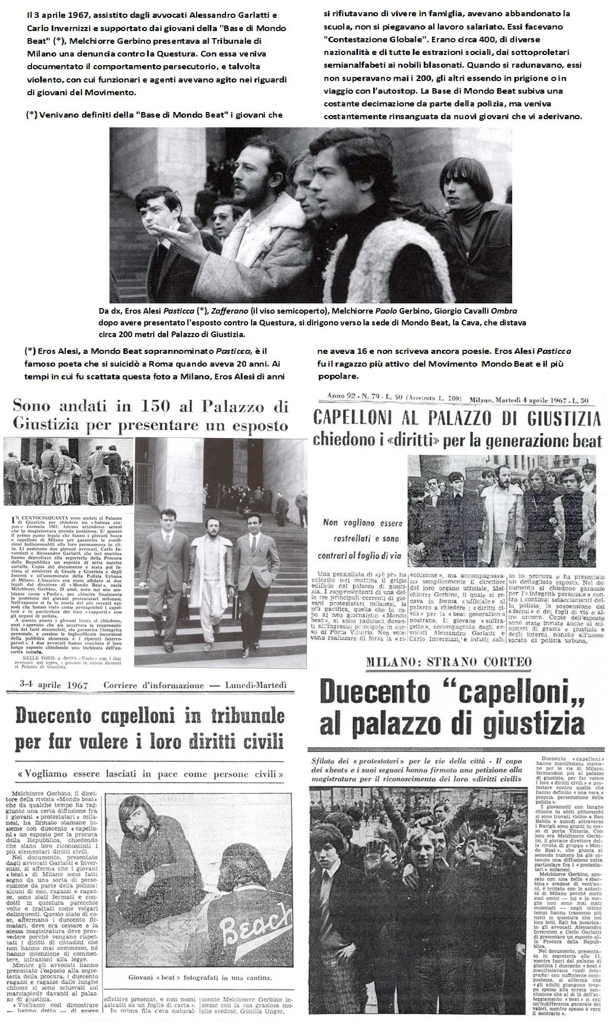 Melchiorre Gerbino e la Base di Mondo Beat presentano denuncia contro la Questura di Milano