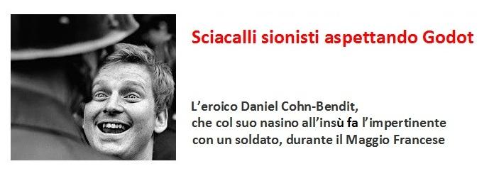 Daniel Cohn-Bendit, che col suo nasino all'insù fa l'impertinente durante il Maggio Francese