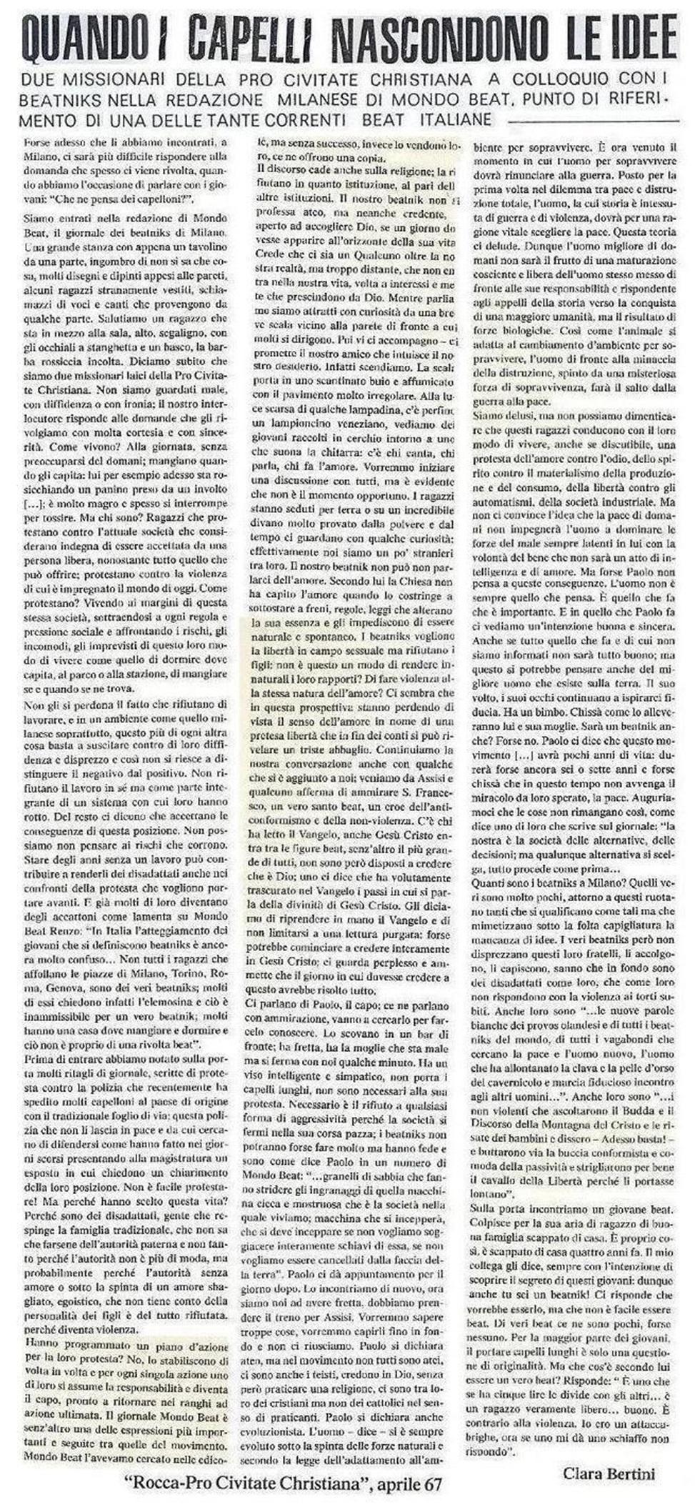 Articolo di Clara Bertini, giornalista della rivista Rocca-Pro Civitate Christiana