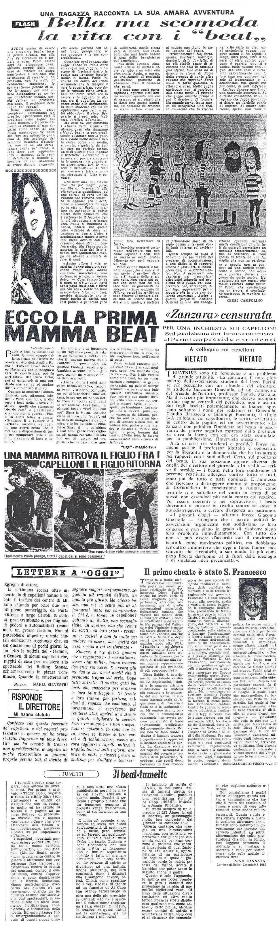 """L'articolo sui beats, del giornale scolastico """"Zanzara"""" del liceo Parini, censurato dal preside Daniele Mattalia"""