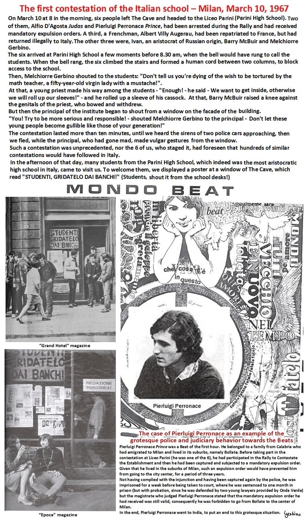 The case of Pierluigi Perronace as an example of the grotesque police and judiciary behavior towards the Beats