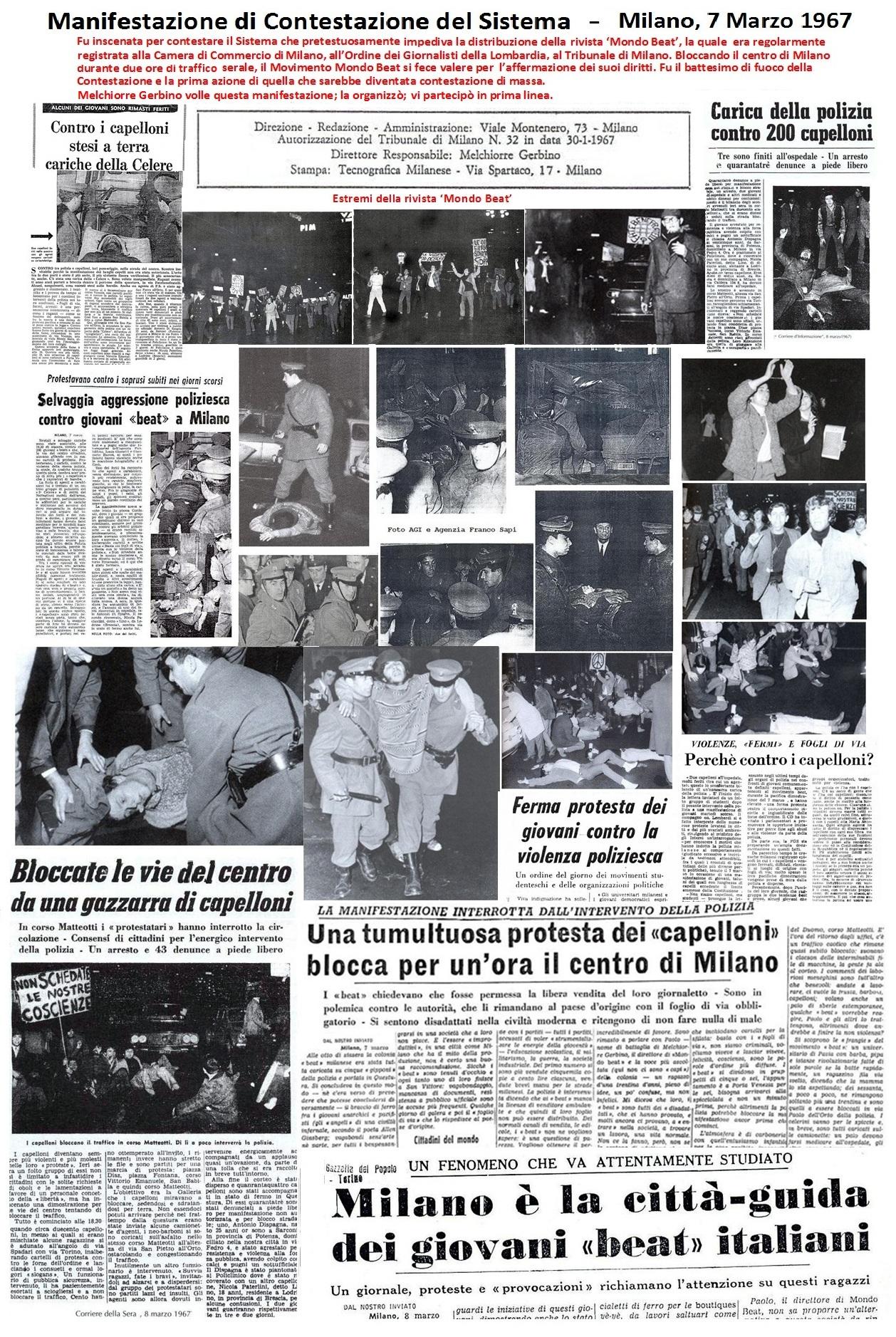 La Manifestazione di Contestazione del Sistema - Milano, 7 Marzo 1967 - fu la prima manifestazione di Contestazione di Massa