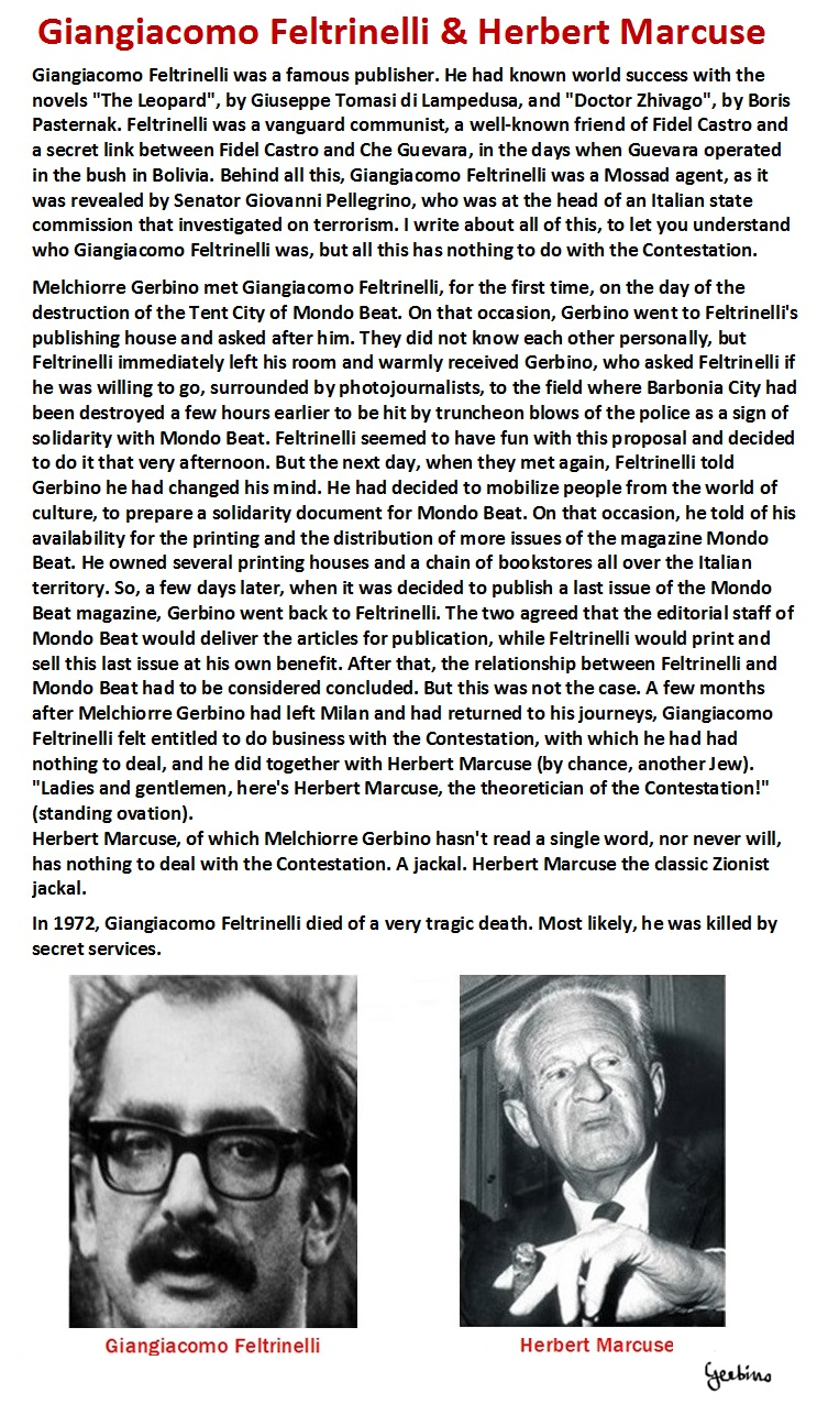 Giangiacomo Feltrinelli and Herbert Marcuse doing business with the Contestation