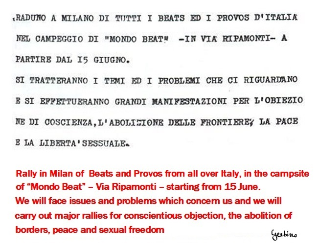 Imaginative Rally of Beats and Provos from all over Italy