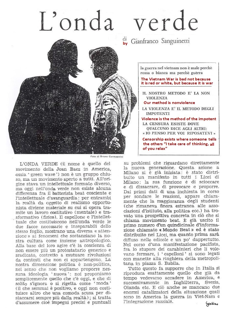 Gianfranco Sanguinetti, a precursor of the Situationists and then a famous representative