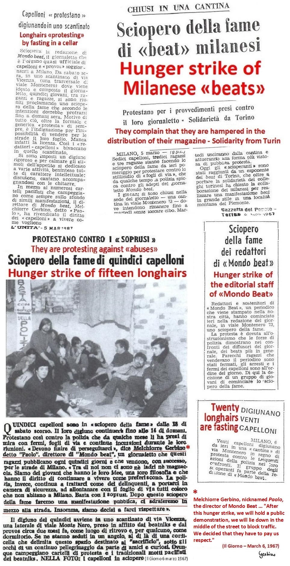 Articles of various newspapers on Mondo Beat's hunger strike (1)