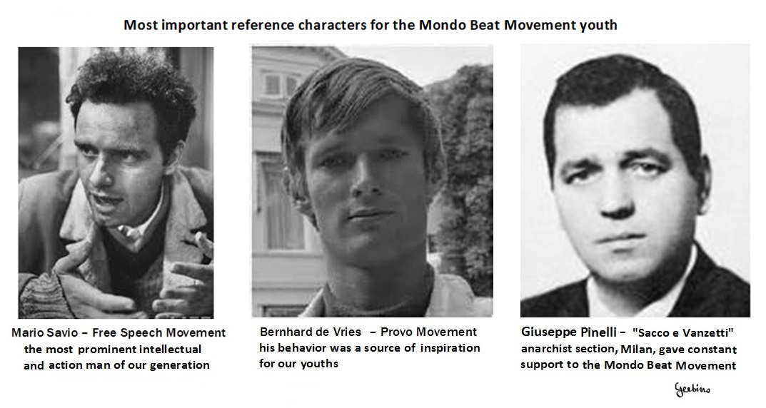 Mario Savio and Bernhard de Vries inspired the Mondo Beat movement at its beginnings. Giuseppe Pinelli provided constant support to the Mondo Beat Movement
