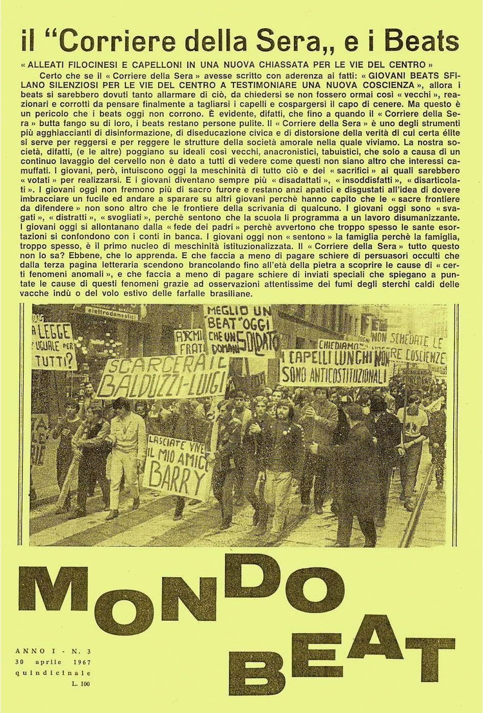 The fifth issue of Mondo Beat magazine - Edition 8,000 copies - Milan, April 30, 1967
