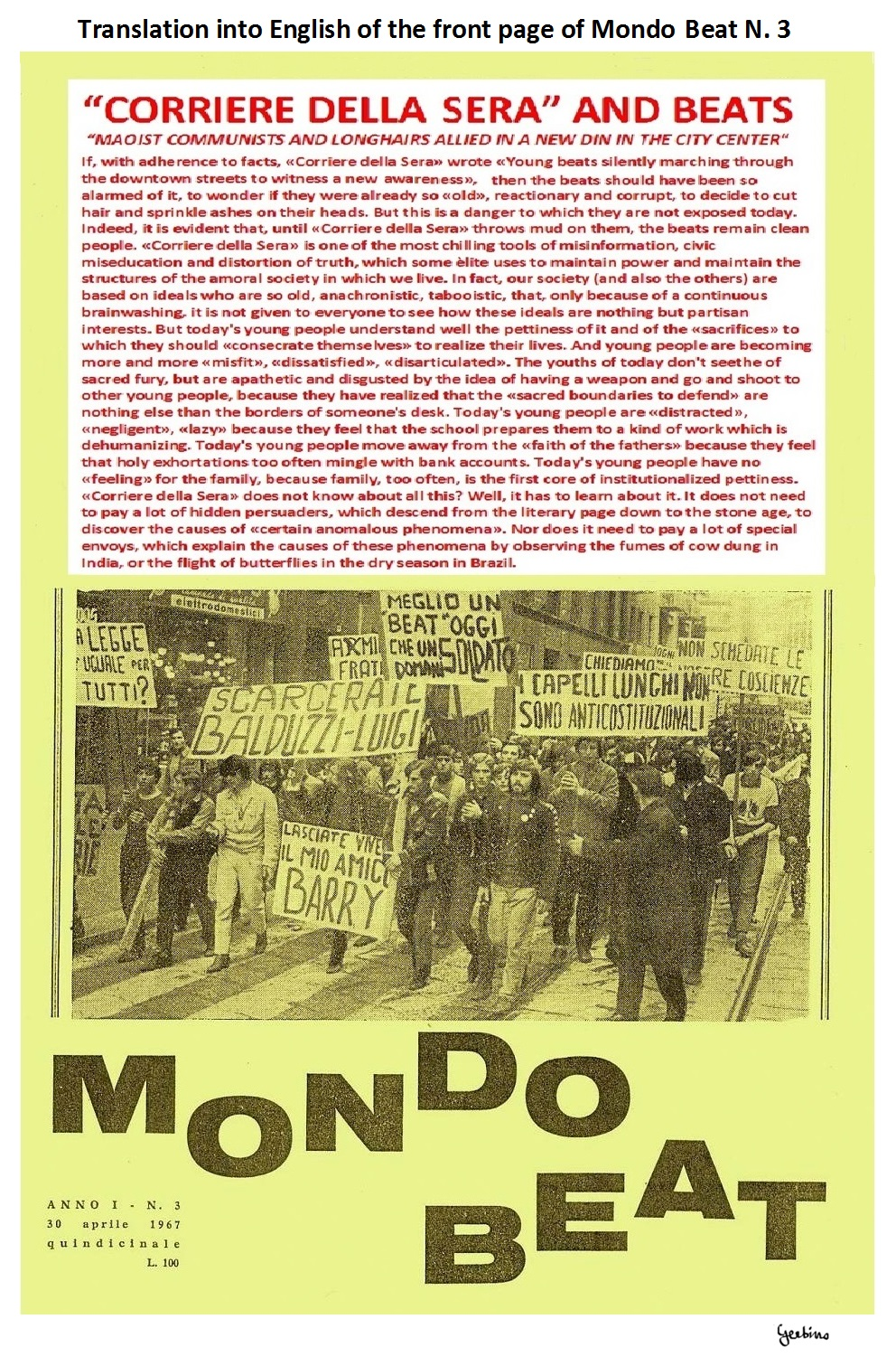 This cover marks the beginning of the clash at loggerheads between Mondo Beat and the Establishment media