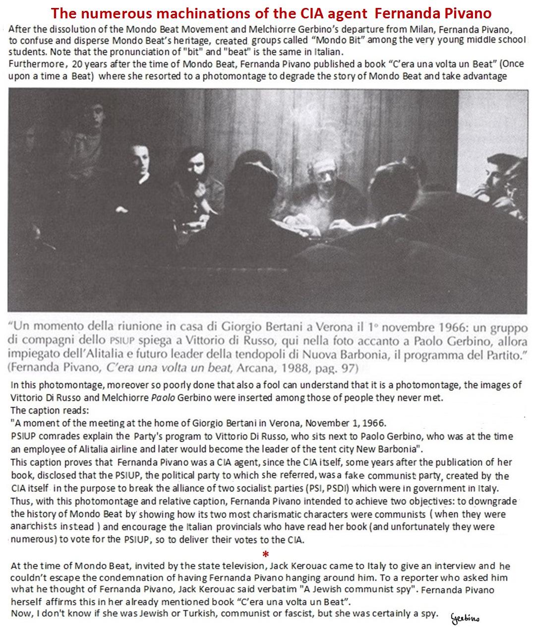 Jack Kerouacsaid of Fernanda Pivano 'a Jewish communist spy'