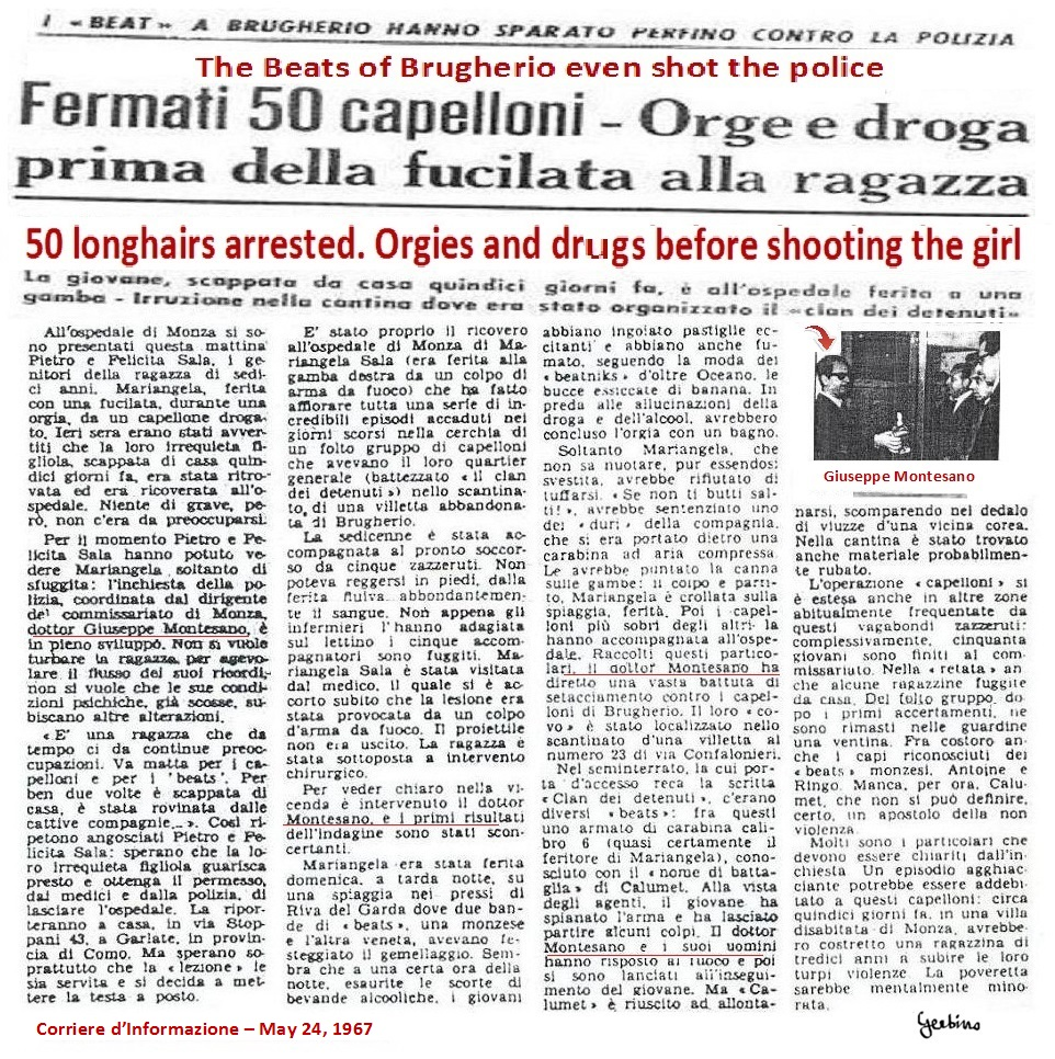Corriere d'Informazione  against the Beats on May 24, 1967