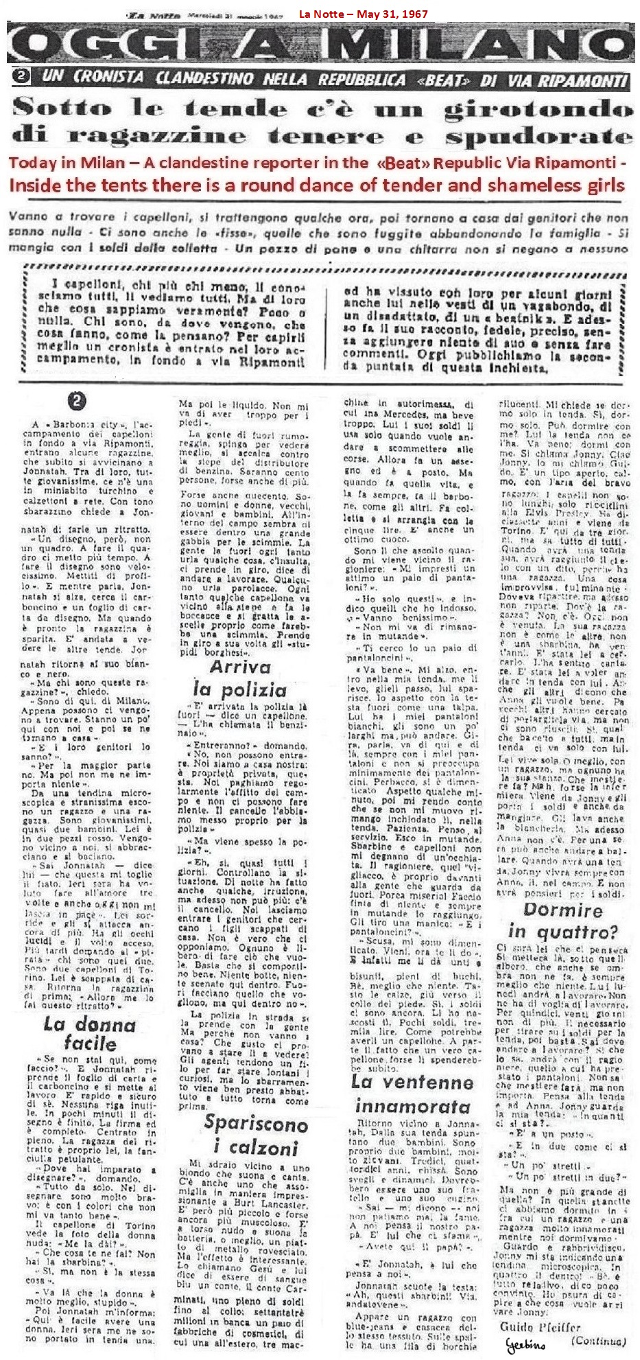 Second article by La Notte against the Mondo Beat Movement, May 31,1967