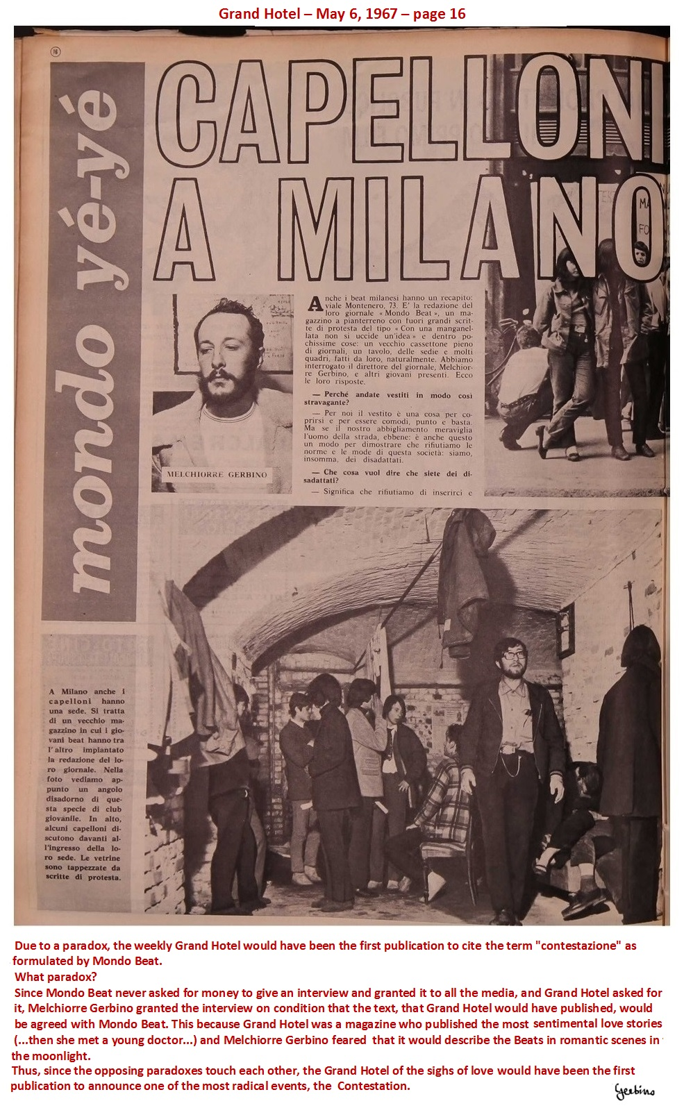 This article of Grand Hotel appeared on May 6, 1967 (1)