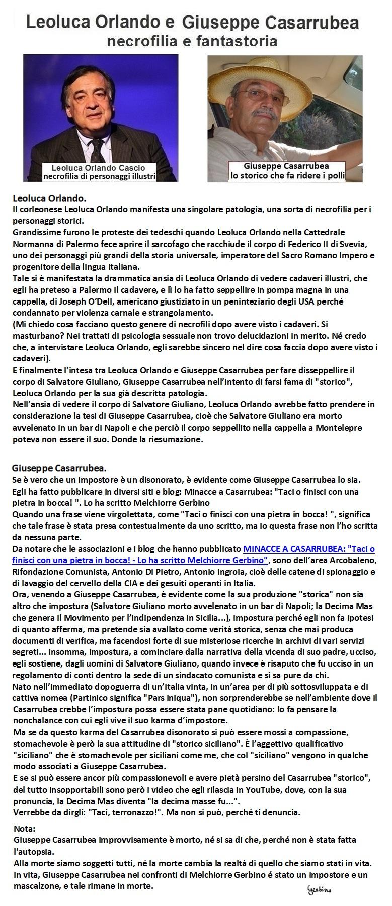 La necrofilia di Leoluca Orlando e la fantastoria di Giuseppe Casarrubea