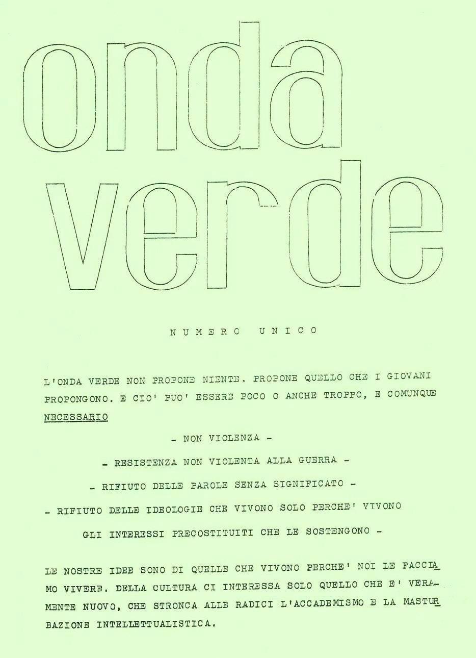 Enea, che aveva creato il logo di Mondo Beat, creò anche quello di Onda Verde