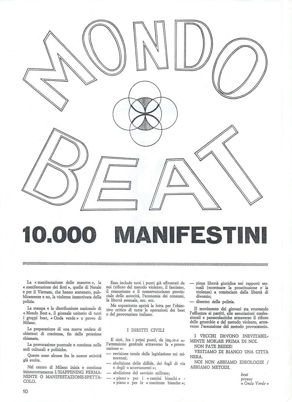 This  flyer was mimeographed in 10.000 copies in the anarchist section Sacco e Vanzetti and was distributed in streets and schools.It  summarized the events to which beats,provos,onda verde,had concurred