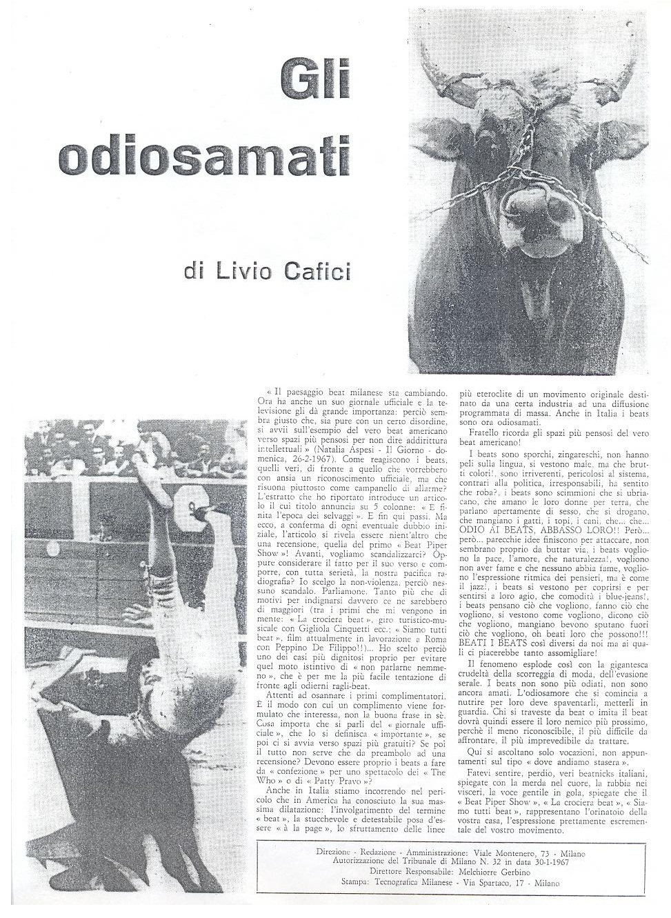 The fourth issue of Mondo Beat magazine - Edition 7,000 copies - Milan, March 15, 1967