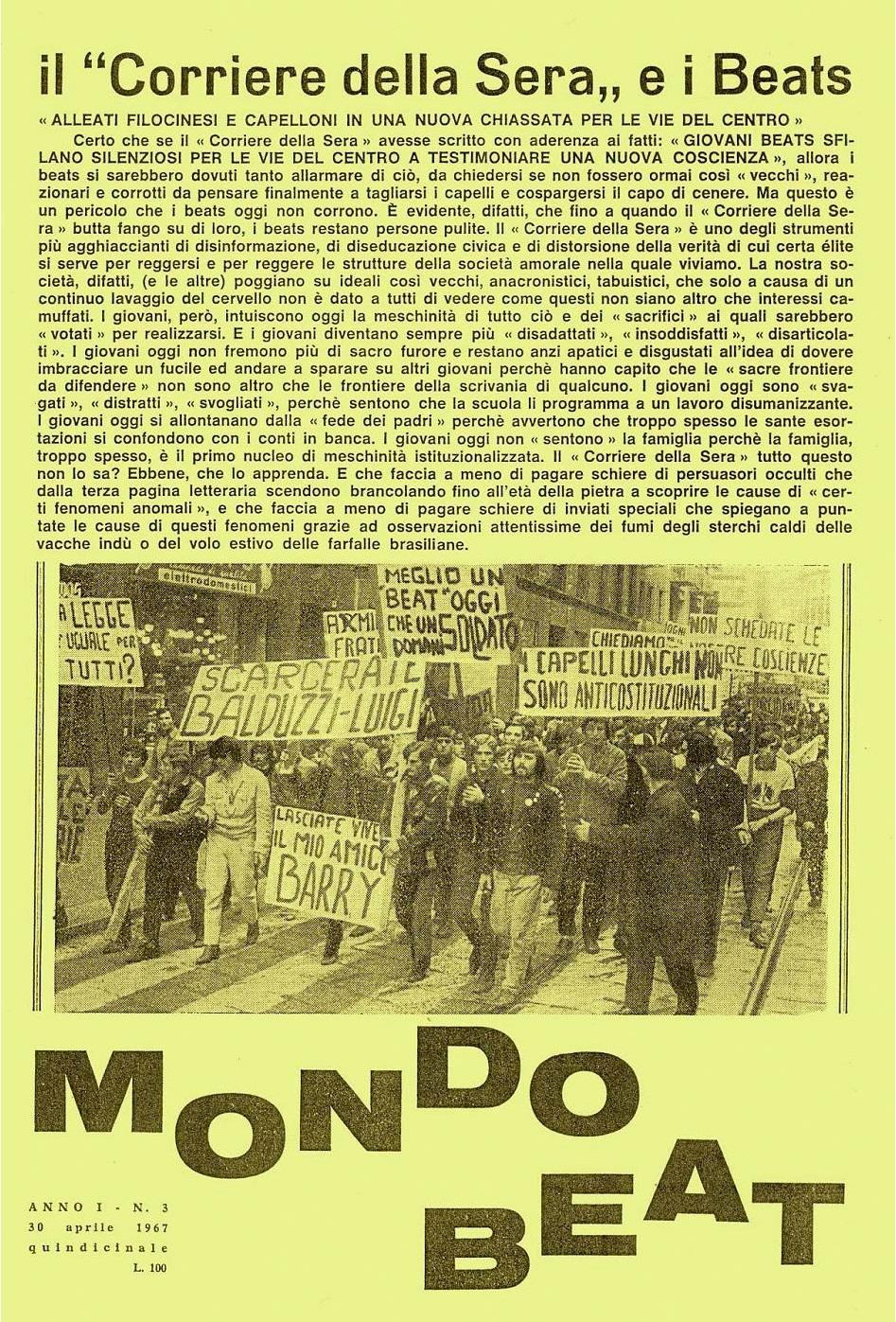 Mondo beat n 3 del 30 aprile 1967 quinto della serie for Corriere della sera arredamento